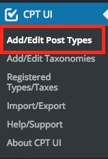 「Add/Edit Post Types」ボタンをクリック。