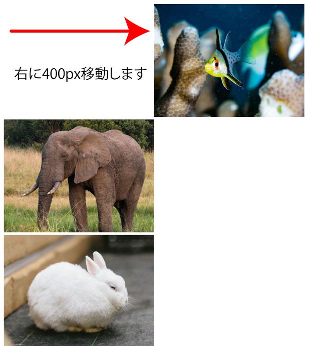 右に移動する画像