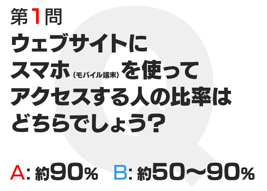 〔第1問〕スマホ比率「ウェブサイトに スマホ(モバイル端末)を使って アクセスする人の比率は どちらでしょう? A:約90% B:約50〜90%」