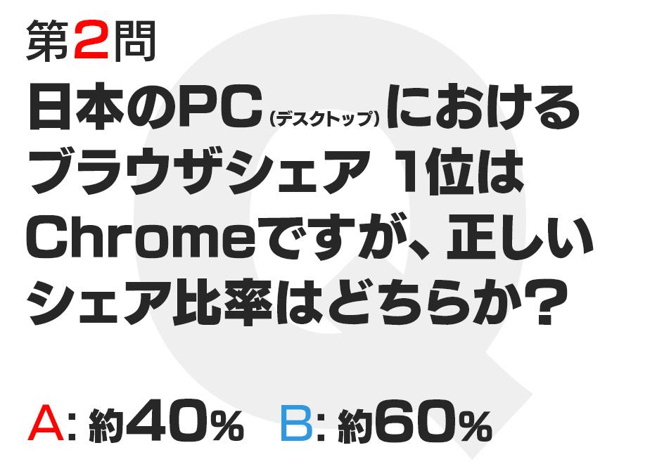 日本のPC(デスクトップ)におけるブラウザシェア 1位はChromeですが、正しいシェア比率はどちらか?  A:約40%  B:約60%