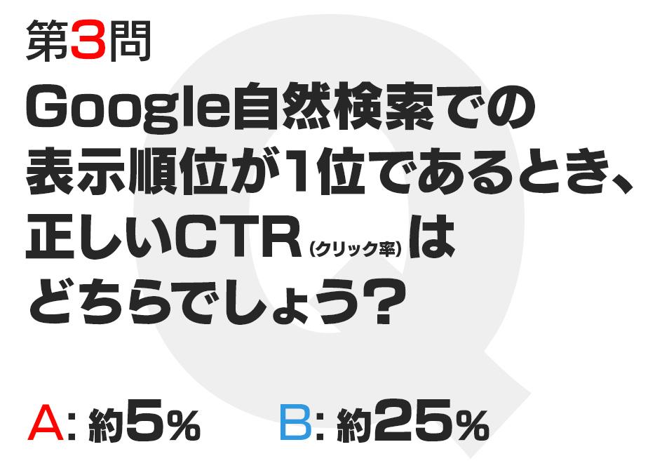 Google自然検索での表示順位が1位であるとき、正しいCTR(クリック率)はどちらでしょう?  A:約5%  B:約25%