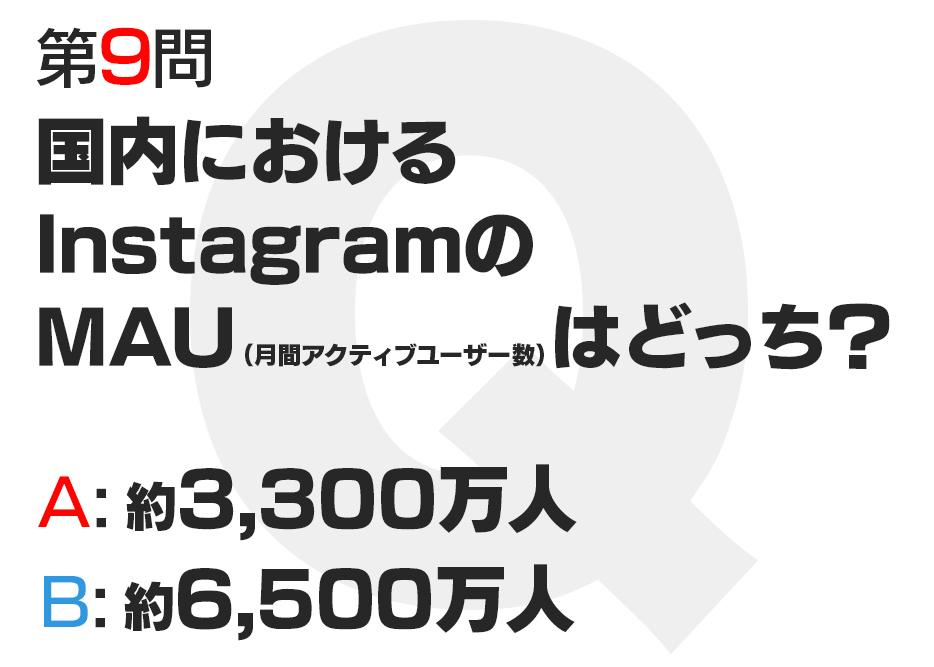 国内におけるInstagramのMAU(月間アクティブユーザー数)はどっち?  A:約3,300万人  B:約6,500万人