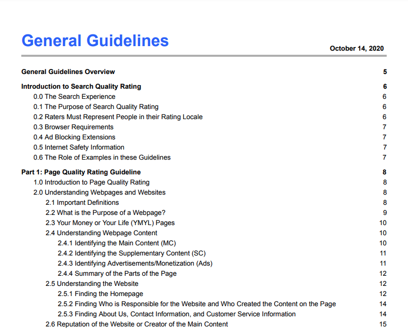 General Guidelines (Google Search Quality Rating Guidelines)